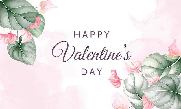 Valentine's day greeting card with beautiful floral