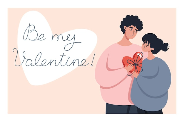 Valentine's day greeting card with a couple in love and lettering