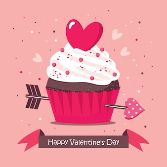 Поздравительная открытка дня святого валентина с кексом и стрелой купидона.