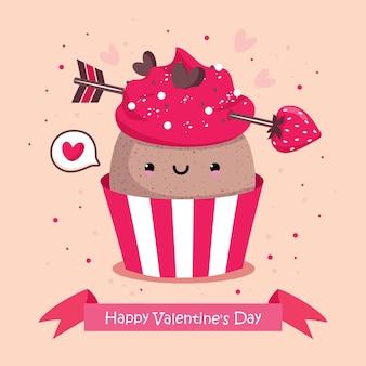 Открытка ко дню святого валентина с кексом и клубничной стрелкой
