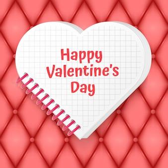 Открытка на день святого валентина с вырезанным из бумаги сердцем и местом для текста