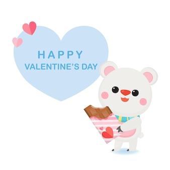 Поздравительная открытка дня святого валентина с милым медведем и сердцем.
