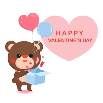 Valentine's day greeting card with cute bear and heart.