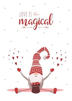 赤い帽子のかわいい小さなノームとバレンタインデーのグリーティングカード