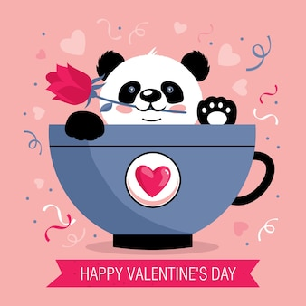 Valentine's day greeting card with cute panda in a mug