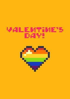 Valentine's day greeting card with cute pixel colorful heart