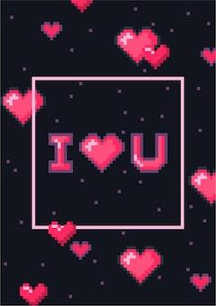 Открытка на день святого валентина с милыми пиксельными сердечками