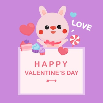 Valentine's day greeting card with cute rabbit and heart.