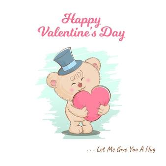 귀여운 테디 베어와 함께 발렌타인 데이 인사말 카드