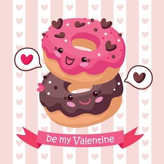Поздравительная открытка дня святого валентина с пончиками.