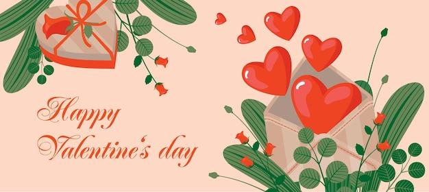 Поздравительная открытка дня святого валентина с конвертом, сердцем, подарком и розами.