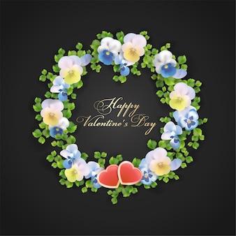花とハートのバレンタインデーのグリーティングカード