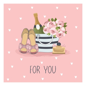 Valentine's day greeting card with flowers, sweets, branches, romantic elements and handwritten text.