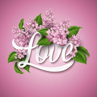 Valentine's day greeting card with flowers syringa.