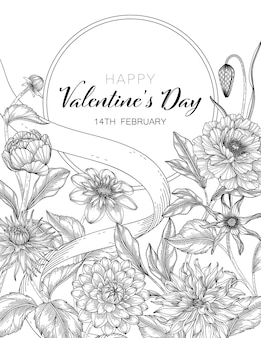 Valentine's day greeting card with flowers