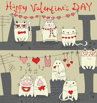 Поздравительная открытка дня святого валентина с рисованной любовной надписью. идеально подходит для дня святого валентина, наклейки, сохранить приглашение на дату