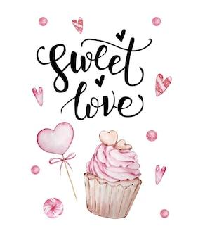 手書きのグリーティングレターと装飾的な水彩イラストが付いたバレンタインデーのグリーティングカード。甘い愛、カップケーキ、お菓子