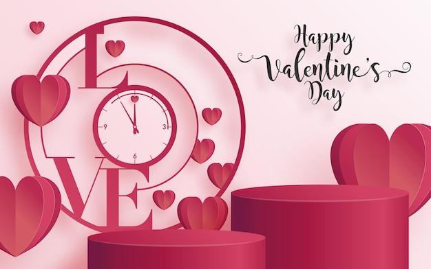 심장 사랑과 장미 종이 발렌타인 인사말 카드는 해피 발렌타인 데이 종이에 예술과 공예 스타일을 잘라