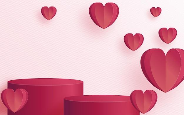 Поздравительная открытка ко дню святого валентина с сердечной любовью и розой, вырезанная из бумаги, искусство и ремесло на бумаге для счастливого дня святого валентина