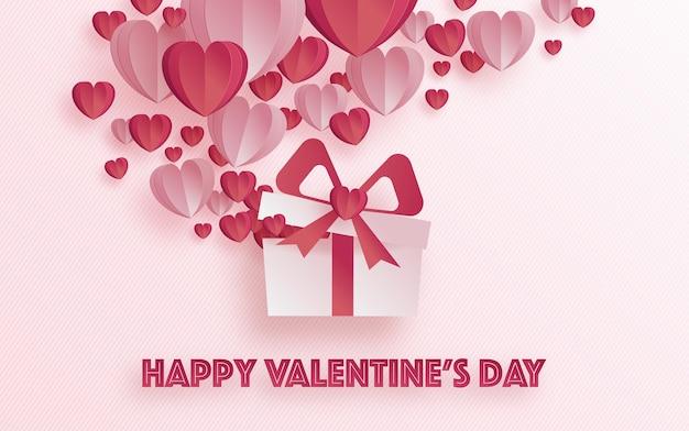심장 사랑과 장미 종이 발렌타인 인사말 카드는 해피 발렌타인 데이 종이에 예술과 공예 스타일을 잘라 프리미엄 벡터