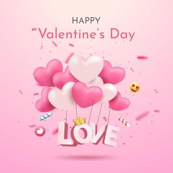 Открытка на день святого валентина с воздушными шарами в форме сердца и надписями Premium векторы