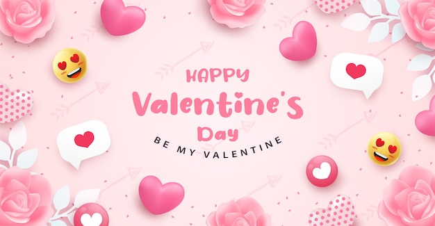 Valentine's day greeting card with hearts and lettering