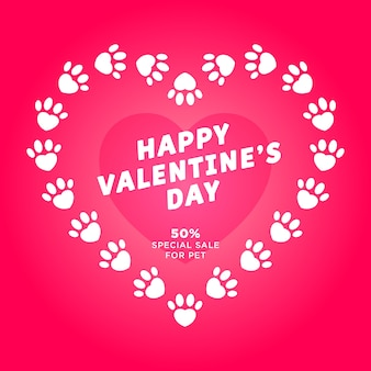 Valentine's day greeting card with hearts and pet white footprint