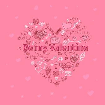 Valentine's day greeting card with hearts