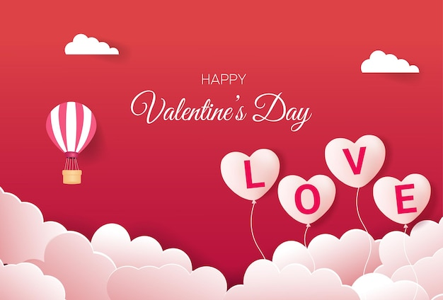 Valentine's day greeting card with love balloons Premium Vector