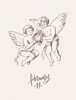 花の花輪を運ぶ天使のペアとバレンタインデーのグリーティングカード