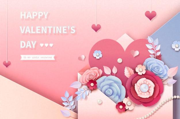 封筒から飛び出す紙の花とバレンタインデーのグリーティングカード、3dイラスト