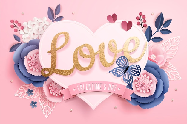 Valentine's day greeting card with paper heart shaped card and flowers on pink surface in 3d style Premium Vector