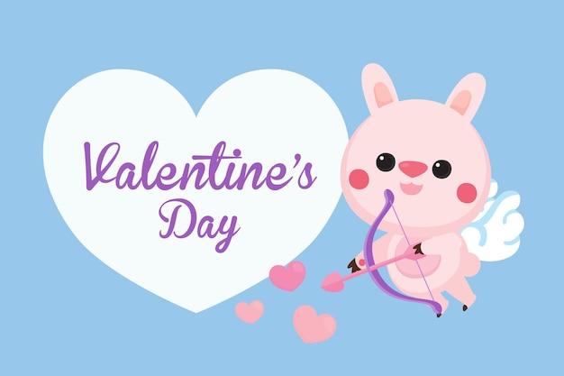 ウサギのキューピッドとバレンタインデーのグリーティングカード