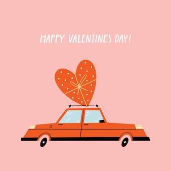 レトロな車でバレンタインデーのグリーティングカード