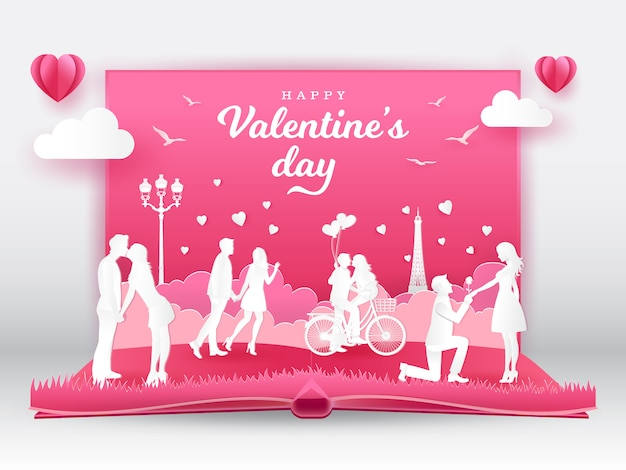 Valentine's day greeting card with romantic couples in love. 3d digital pop up book with paper cut style  illustration