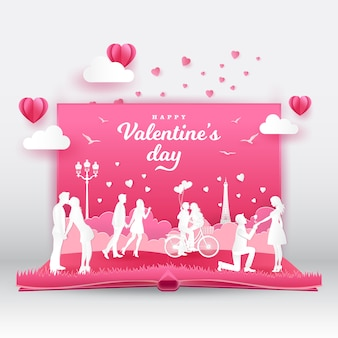 Valentine's day greeting card with romantic couples in love. 3d digital pop up book with paper cut style vector illustration
