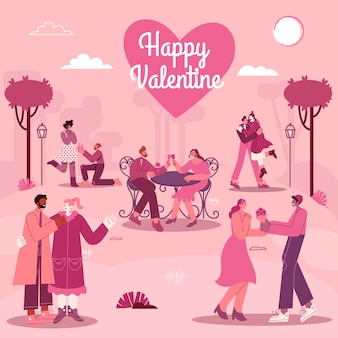 Valentine's day greeting card with romantic couples in love with modern flat style vector illustration