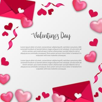 Открытка на день святого валентина со сладкой розовой любовью в форме сердца и украшением рамы конверта с любовным письмом на белом фоне