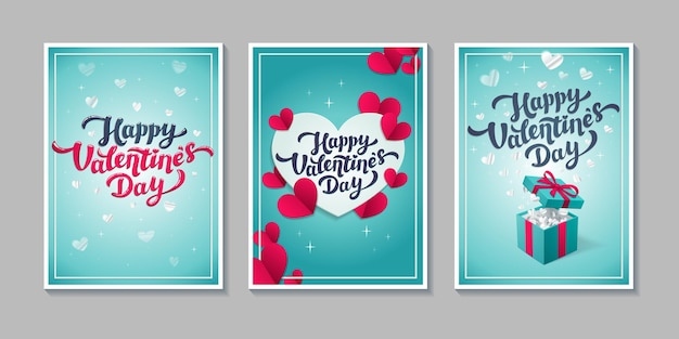 Valentine s day greeting cards - set of love day cards or posters