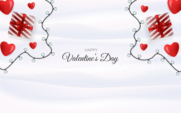 Valentine's day greeting cards.on a white silk cloth background and a gift box