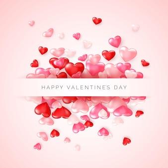 バレンタインデーの挨拶。フレームとテキストで紙吹雪の光沢のある赤いハートハッピーバレンタインデー。