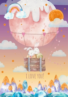 Valentine's day greeting, cute loving bunnies fly in a round hot air balloon over the mountains, childrens illustration