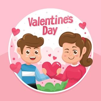 소년과 소녀 반짝이 하트를 들고 발렌타인 데이 인사말 디자인