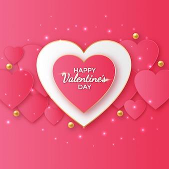 心臓の形をしたバレンタインデーグリーティングデザイン