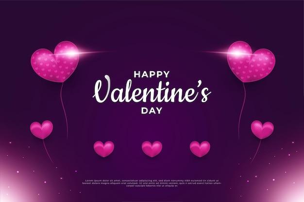 Приветствие ко дню святого валентина с фиолетовыми воздушными шарами в форме сердца и светящимся светом на темном фоне