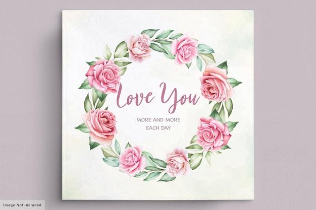 Cartolina floreale di san valentino saluto ghirlanda