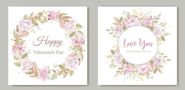 발렌타인 데이 인사말 화 환 꽃 카드