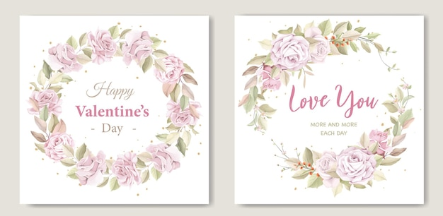 Valentine's day greeting  wreath floral card