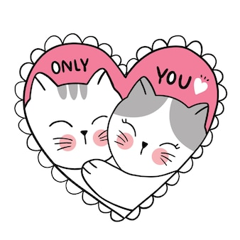 Valentine's day, hand draw cartoon cute cats love in heart frame