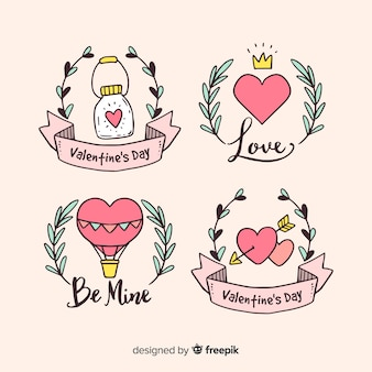 Valentine's day hand drawn badges collection